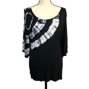 INC Black & White Tie Dye Top with Jewels